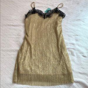 Dresses & Skirts - Glitzy Gold with Black Lace Trim Slip Dress